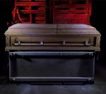 Casket Showroom  :::::  Moldy casket in the rotting, walk-thru Haunted House.