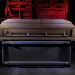 Casket Showroom  :::::  Moldy casket in the rotting, walk-thru Haunted House.