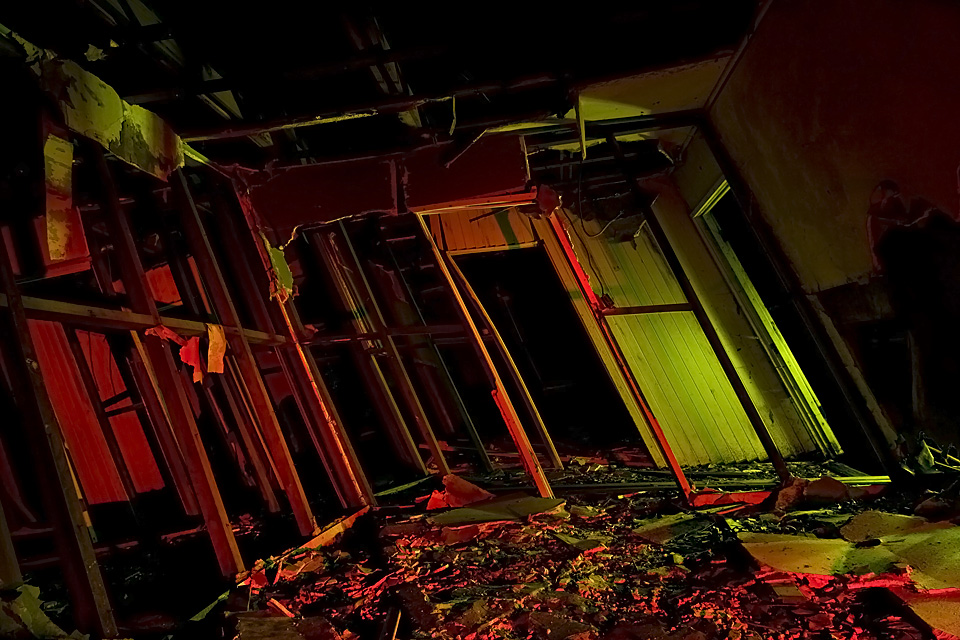 Funhouse  :::::  Inside one of the collapsing bunkhouses.