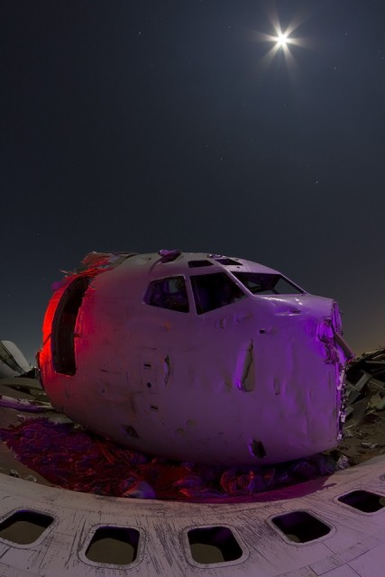 Black Windows  :::::  2014  :::::  Airliner parts under the full moon.