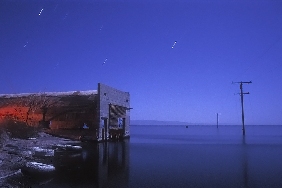 Quonset :::::  1992  :::::  Salton Sea Beach.  3AM, still over 100ºF.