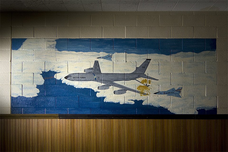 Stratotanker in Action  :::::  KC-135 and F-106 Delta Darts painted on the wall inside the barracks-bunker.