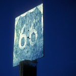 Route 66  :::::  1989  ::::::  Film  :::::  Wooden DOT sign, Essex, California.