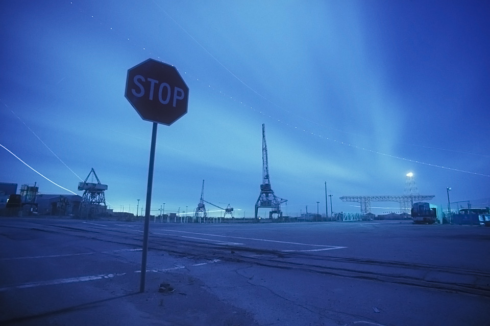 STOP  :::::  A one-time major intersection overlooking the drydock cranes.