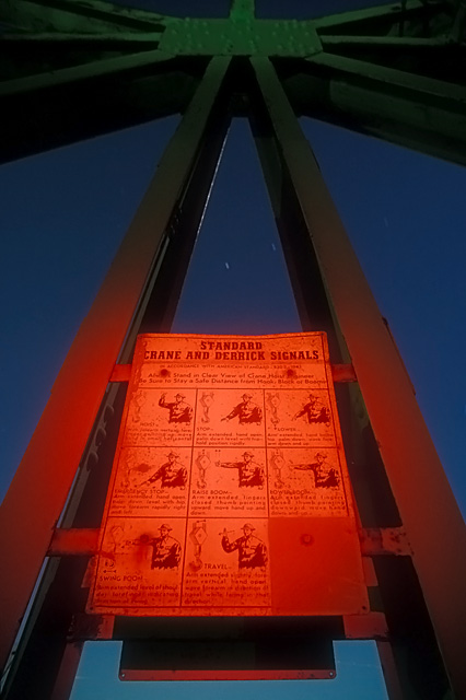 Standard Signals  :::::  Hand signal instructions on a gantry crane.