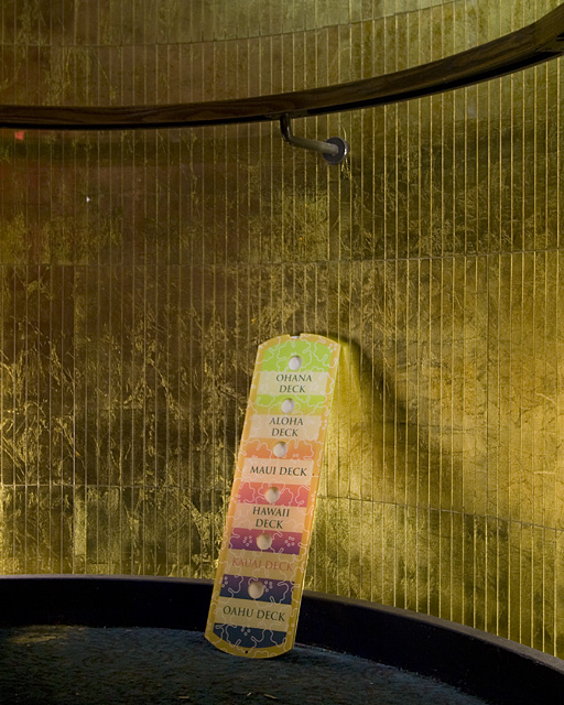 Gold Leaf  :::::  Elevator button panel, adrift in the stairwell.
