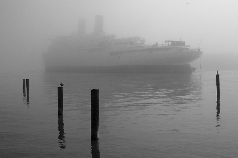 Destination Unknown  :::::  The beginning of her final voyage, under tow to the South Pacific..