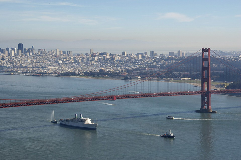 The End Of An Era  :::::  Towed through the Golden Gate in her last moments in American waters.