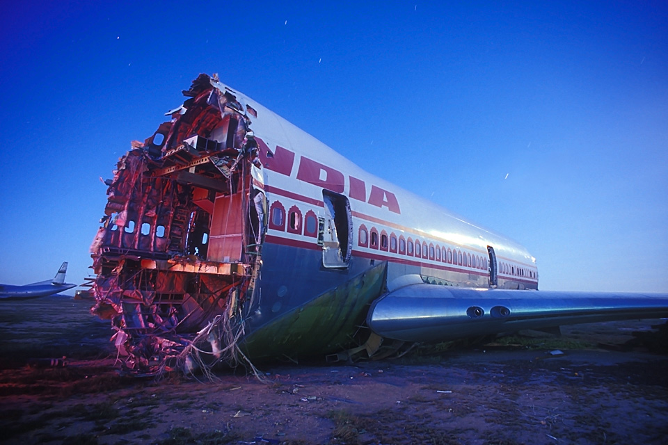 Air India  :::::  2003  :::::  A first generation 747 in the middle of the recycling process.