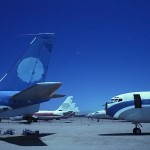 Boneyard Rows  :::::  1990  :::::  Boeing 707s and Convair 880s lined up awaiting the smelter.