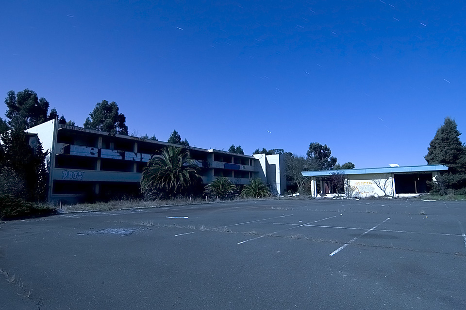 Plenty of Parking at Skaggs  :::::  The bunker-like dorm and cafeteria buildings.