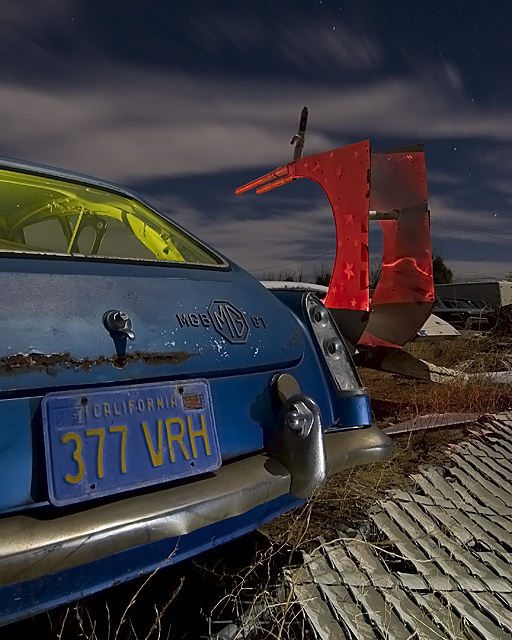 Rust Invasion  :::::  MGB GT and some kind of movie prop vehicle.