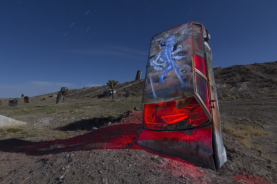 The Blue Space God  :::::  International Car Forest of the Last Church  :::::  Goldfield, Nevada