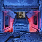 The Staircase  :::::  The once luxurious main vestibule has had much of its marble facing stripped off by scrappers and vandals.